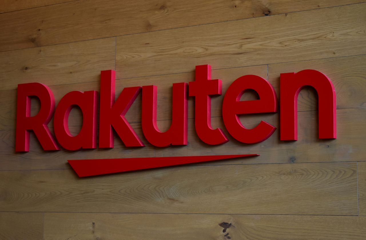 FILE PHOTO: The logo of Rakuten is pictured at the headquarters of Rakuten in Tokyo, Japan, May 15, 2019. REUTERS/Sam Nussey/File Photo