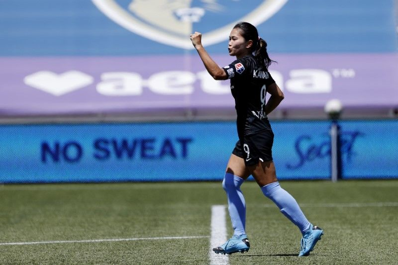 FILE PHOTO: Jul 18, 2020; Herriman, Utah, USA; Sky Blue FC forward Nahomi Kawasumi (9) reacts after her penalty kick goal in overtime against the Washington Spirit at Zions Bank Stadium. Mandatory Credit: Jeffrey Swinger-USA TODAY Sports