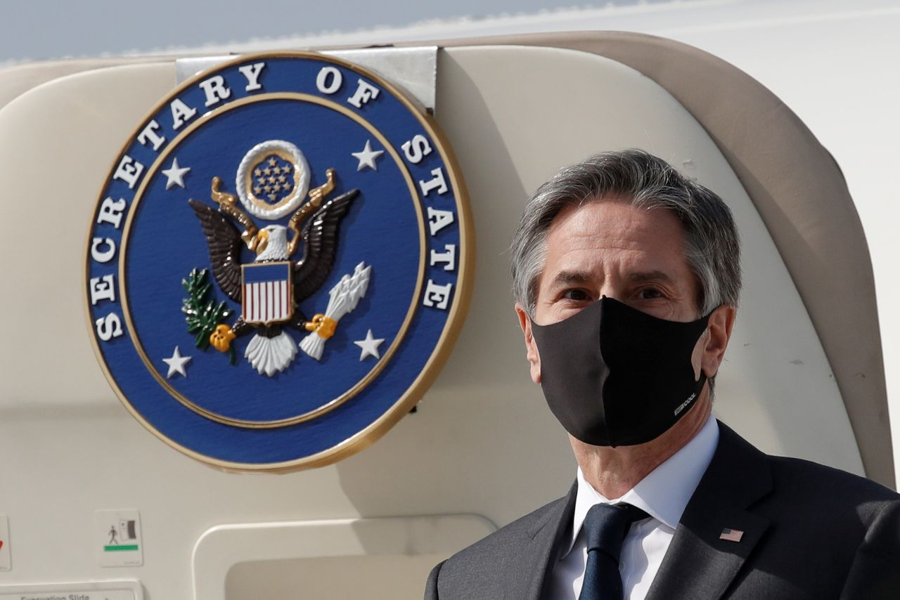 U.S. Secretary of State Antony Blinken arrives at Osan Air Base in Pyeongtaek, South Korea March 17, 2021. Lee Jin-man/Pool via REUTERS