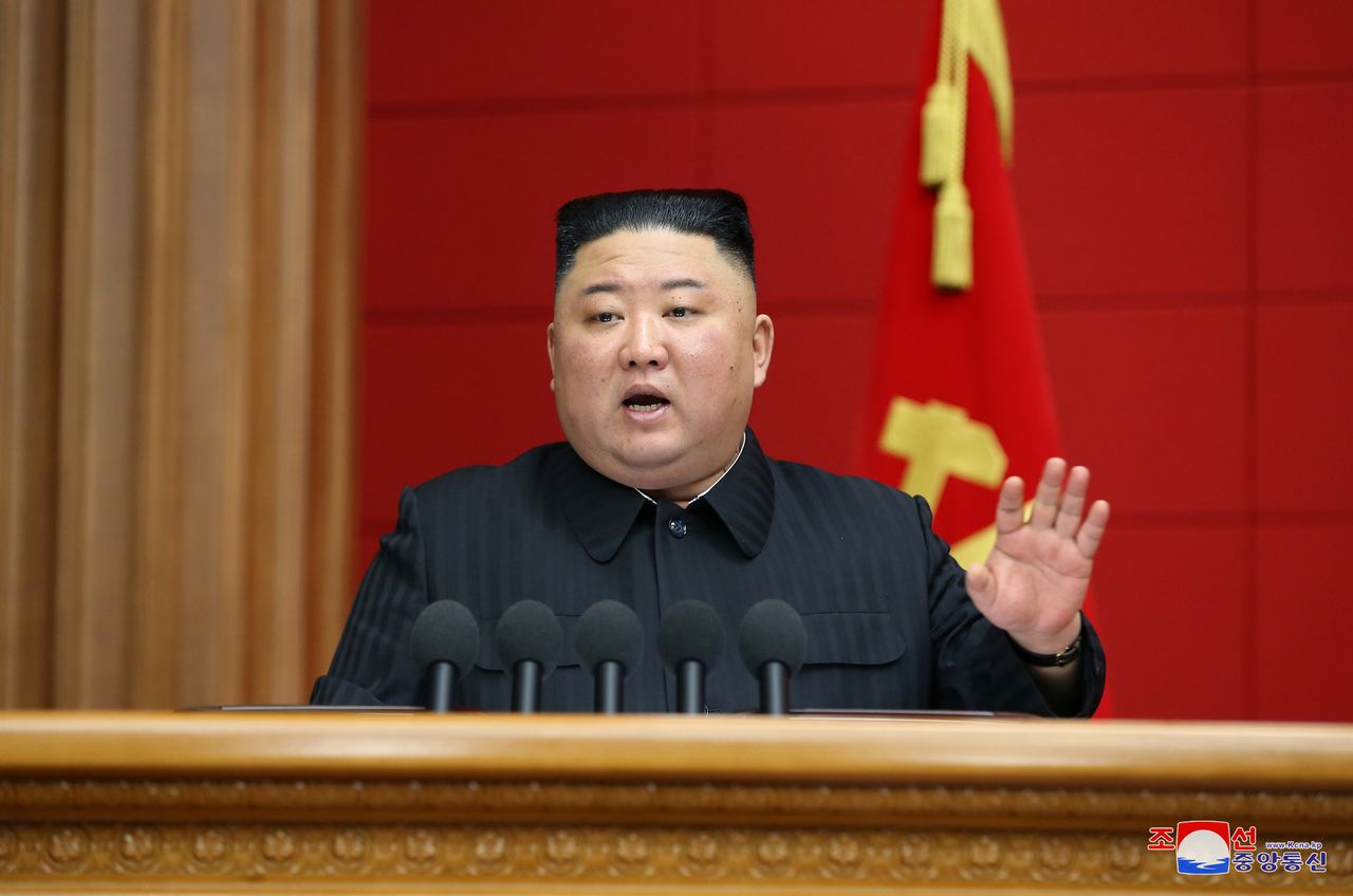FILE PHOTO: North Korea's leader Kim Jong Un addresses the first short course for chief secretaries of the city and county Party committees in Pyongyang, North Korea, in this undated photo released March 7, 2021 by North Korea's Korean Central News Agency (KCNA). KCNA via REUTERS