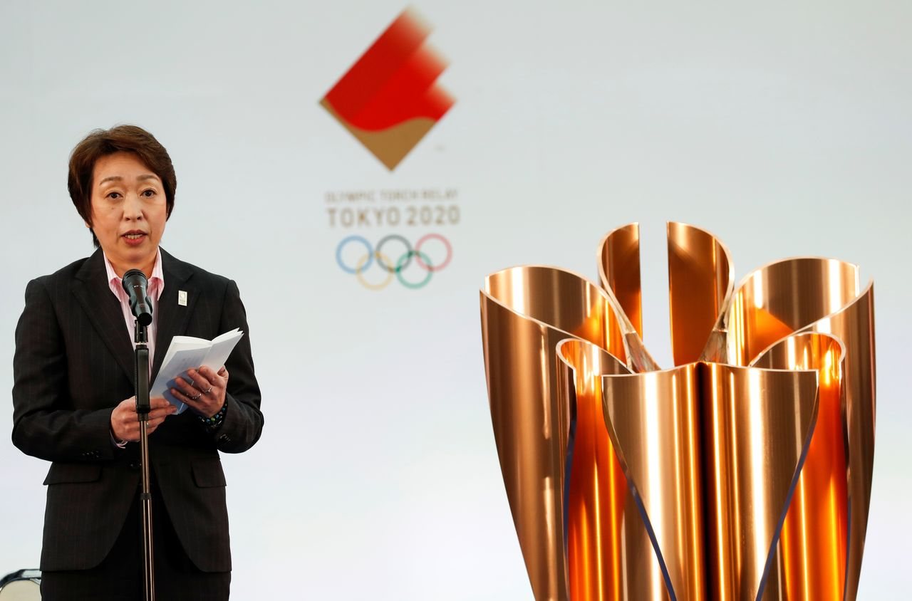 FILE PHOTO: Tokyo 2020 President Seiko Hashimoto delivers a speech during the Grand Start of the Olympic Torch Relay in Naraha, Fukushima prefecture, Japan March 25, 2021. REUTERS/Kim Kyung-Hoon/Pool
