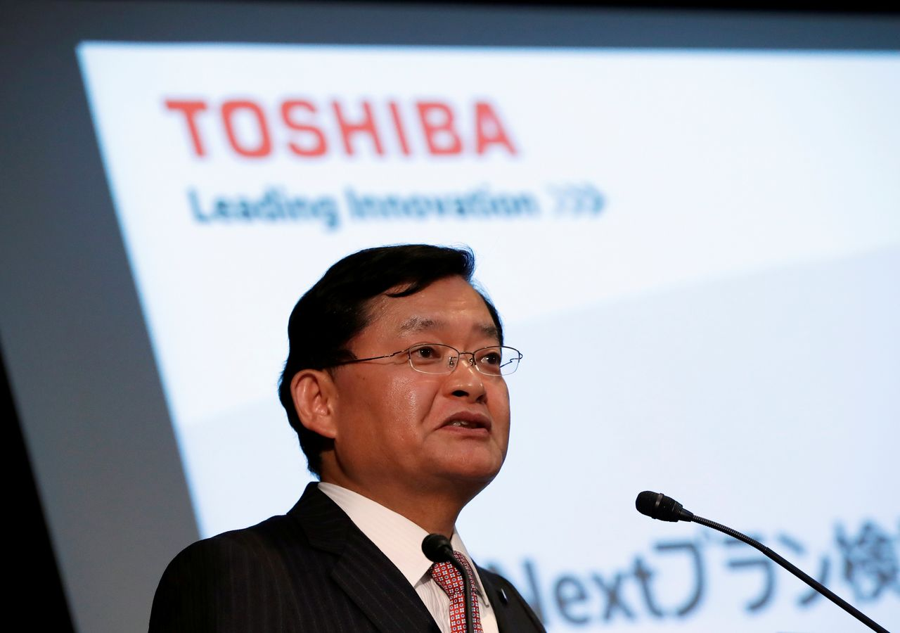 FILE PHOTO: Toshiba Corp's CEO Nobuaki Kurumatani attends a news conference at the company's headquarters in Tokyo, Japan, May 15, 2018. REUTERS/Issei Kato