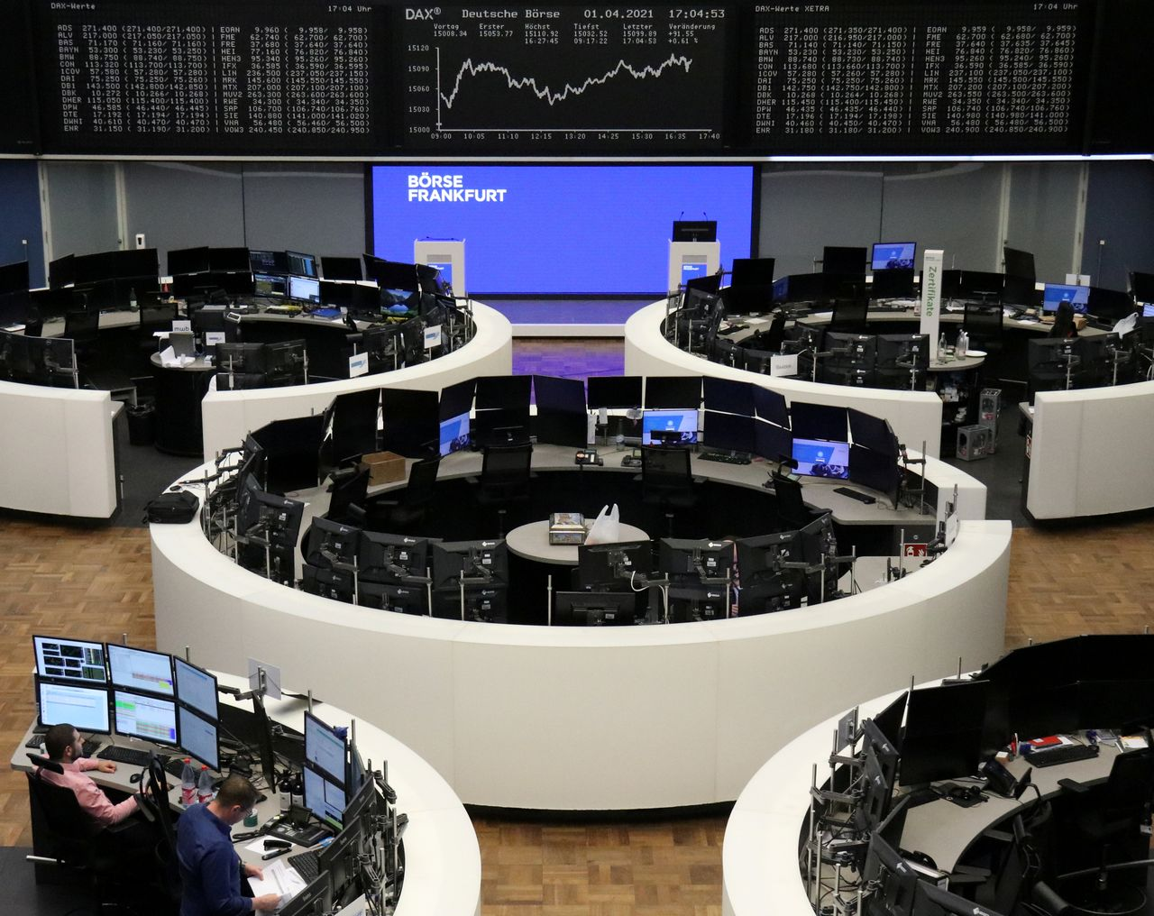 FILE PHOTO: The German share price index DAX graph is pictured at the stock exchange in Frankfurt, Germany, April 1, 2021. REUTERS/Staff