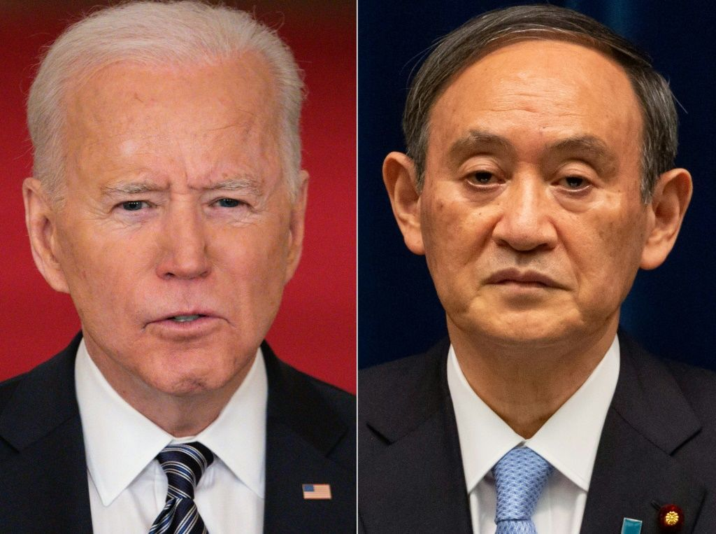 US President Joe Biden will welcome Japanese Prime Minister Yoshihide Suga for his first foreign summit. AFP