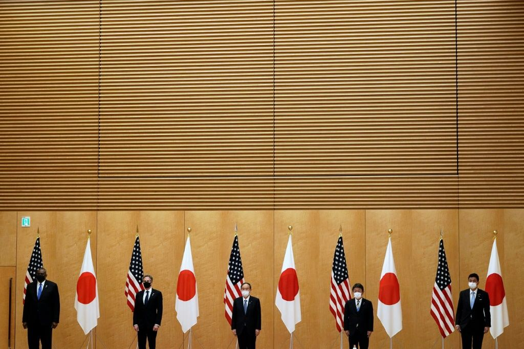 US Secretary of State Antony Blinken and Defense Secretary Lloyd Austin pose with Japan's Prime Minister Yoshihide Suga, Foreign Minister Toshimitsu Motegi and Defense Minister Nobuo Kishi in March 2021 as the new US administration focuses on allies. AFP
