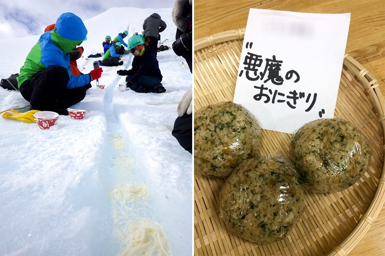 "Iceberg nagashi sōmen, a Japanese Antarctic tradition (left); Akuma no onigiri, or ""devil's rice balls."""