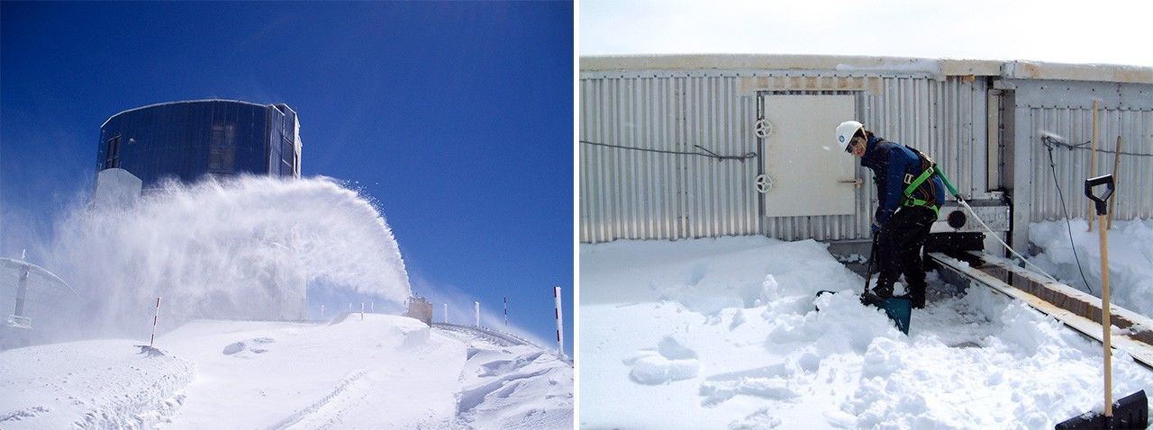 "Left: A snow blower clears the access road around the observatory. Right: a native of Japan's ""snow country,"" Hayashi is an old hand at shoveling snow off of rooftops. (Photos courtesy of Hayashi Saeko)"