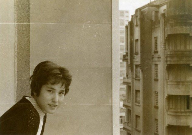 In 1959, Kadono and her husband moved to Brazil. Here she is pictured at Apartment 609, Rua Guaianases, São Paulo.