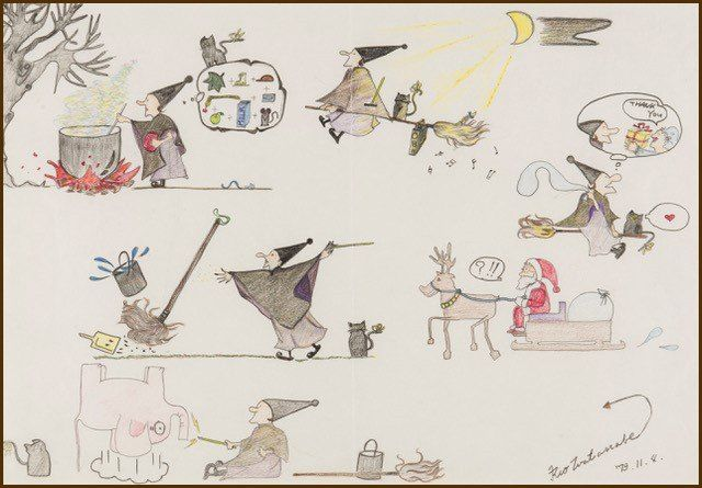 The original inspiration for Kiki came from these pictures, drawn by Kadono's daughter Rio when she was 12 years old. (Photo courtesy of Kadono Eiko's office)