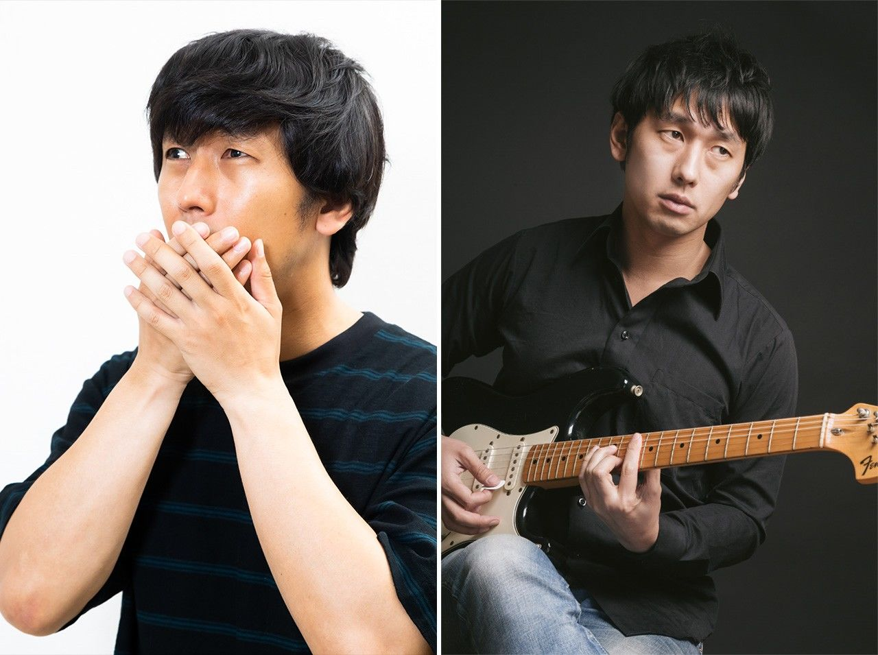 Ōkawa with hands over mouth (left) and posing with a guitar.