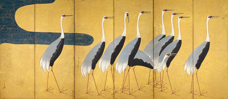 "Suzuki Kiitsu, ""Screen with Flock of Cranes"" (Left panel)"