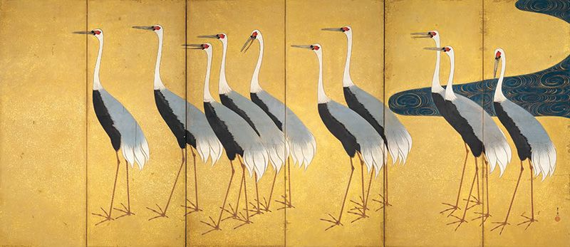"Suzuki Kiitsu, ""Screen with Flock of Cranes"" (Right panel)"