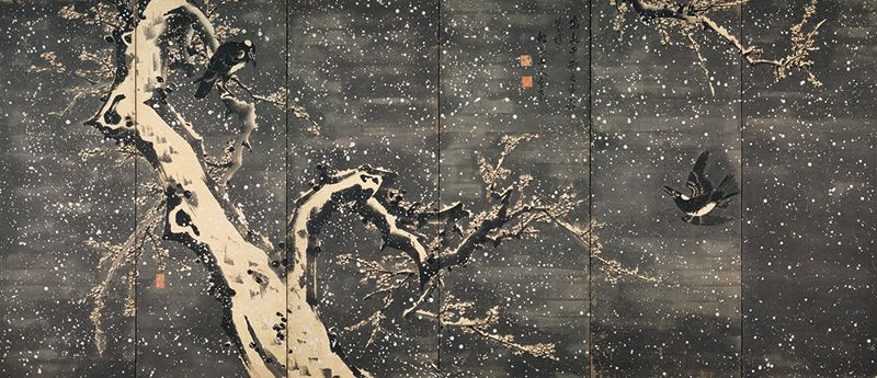 "Katsu Jagyoku, ""Screen with Rabbit, Plum, and Crow in the Snow"" (Left panel)"
