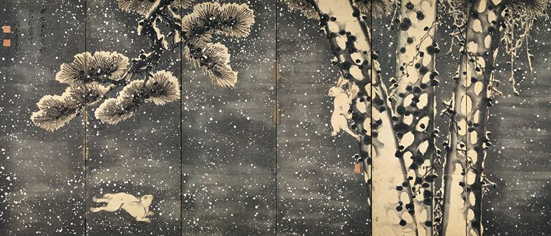 "Katsu Jagyoku, ""Screen with Rabbit, Plum, and Crow in the Snow"" (Right panel)"