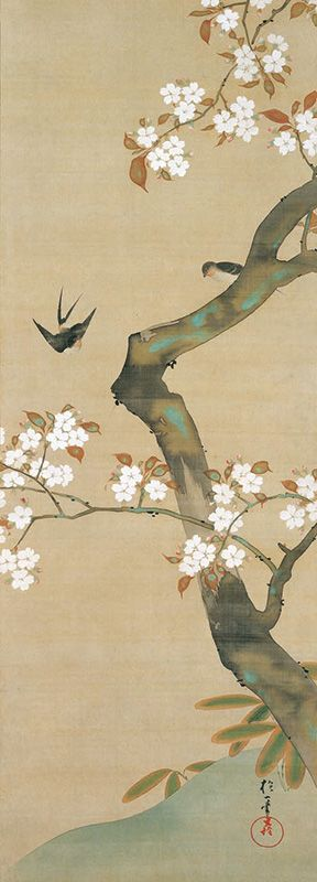 "Sakai Hōitsu, ""Birds and Flowers of the Twelve Months of the Year"" (Third month)"