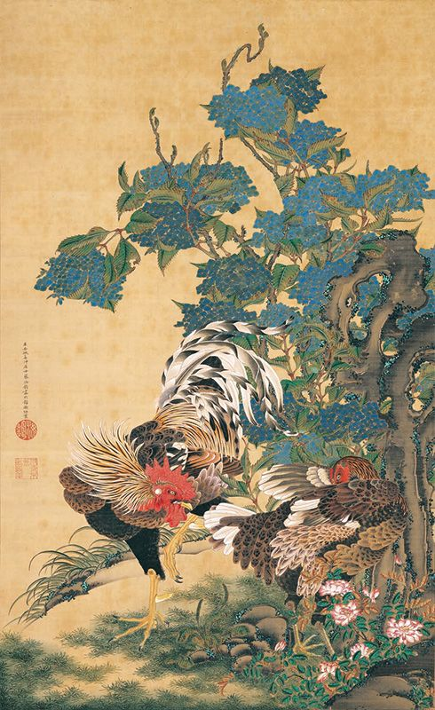 "Itō Jakuchū, ""Pair of Fowl with Hydrangea Flowers"""
