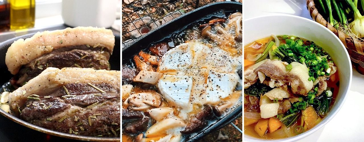 Some of the ways to cook boar meat Nozomi has introduced in her video include, from left, roasted, grilled with cheese, and as an udon topping. (Courtesy Nozomi's Kari Channeru)