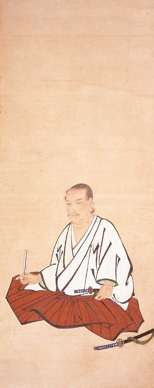 Miyamoto Musashi, sentado (colección del Museo Prefectural de Bellas Artes de Kumamoto). Es una representación del periodo Edo (1603-1868), de autor desconocido.