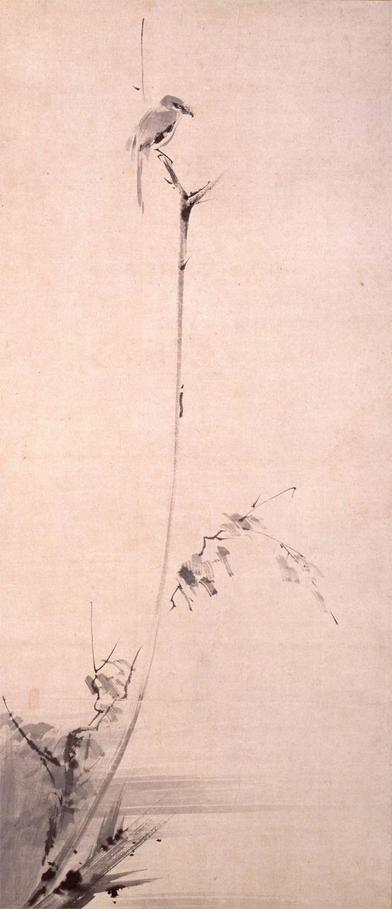 """Koboku meigeki-zu (""""Alcaudón canta en la rama seca""""), dibujo a tinta de Miyamoto Musashi (colección del Museo de Arte Conmemorativo Kuboso, de Izumi). En su Libro de los cinco anillos, Musashi sostiene que el dibujo y otras disciplinas artísticas son también medios para ejercitarse en el arte de la espada."""