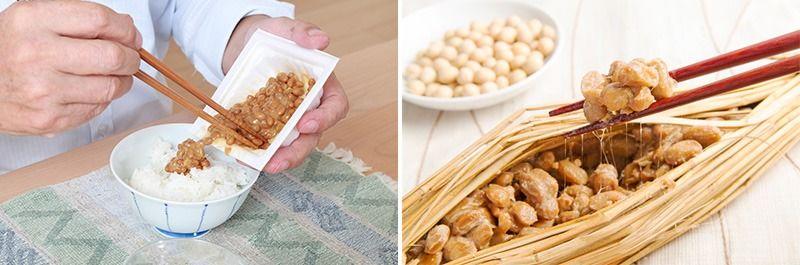 左:裝在保麗龍盒裡的納豆。右:用稻稈抱著的傳統納豆