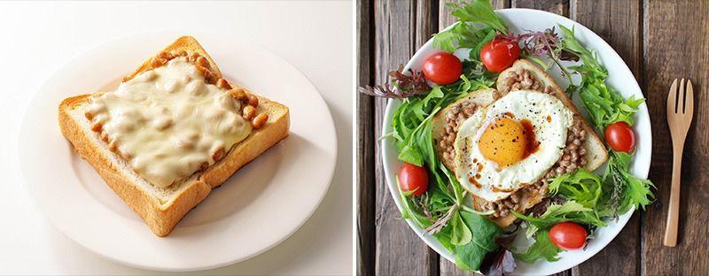 左:納豆起司吐司,帶有藍紋起司的風味 右:納豆煎蛋醬油吐司。把納豆放在吐司上吃,就不會弄髒手和盤子了