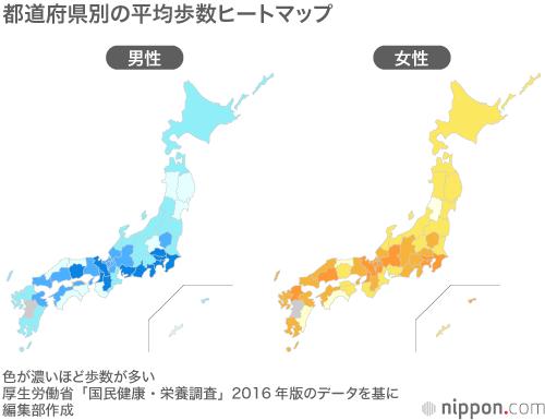 都道府県別の平均歩数のヒートマップ