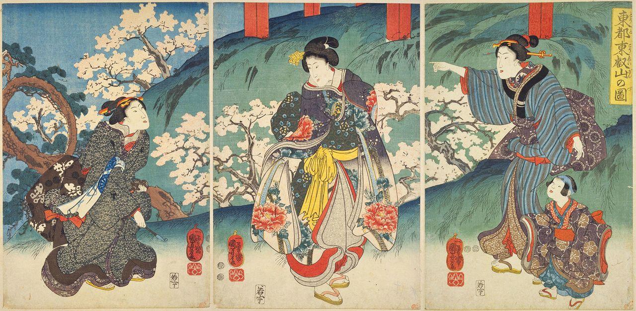 国芳の『東都東叡山の図』(国会図書館蔵)は、1847(弘化4)年から52年(嘉永5)年の間に発行された作品。3枚つづりの左端に月の松が登場する