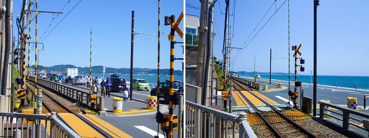 (左)4月19日、(右)4月29日=江ノ電「鎌倉高校前」駅そばで