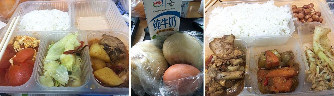 大学からは1日3回の食事が配給された。左から昼食、朝食、夕食