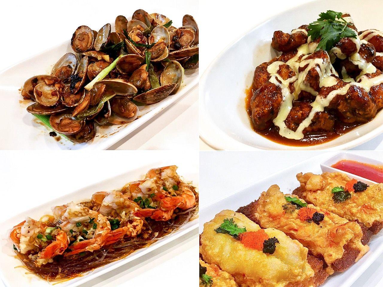 火炎が提供する定番香港料理の数々。例えば「 豆豉炒蜆(アサリのトウチ炒め)」や「粉絲蒸大蝦(春雨と蒸しエビ)」など。他に創作メニューもある(筆者撮影)