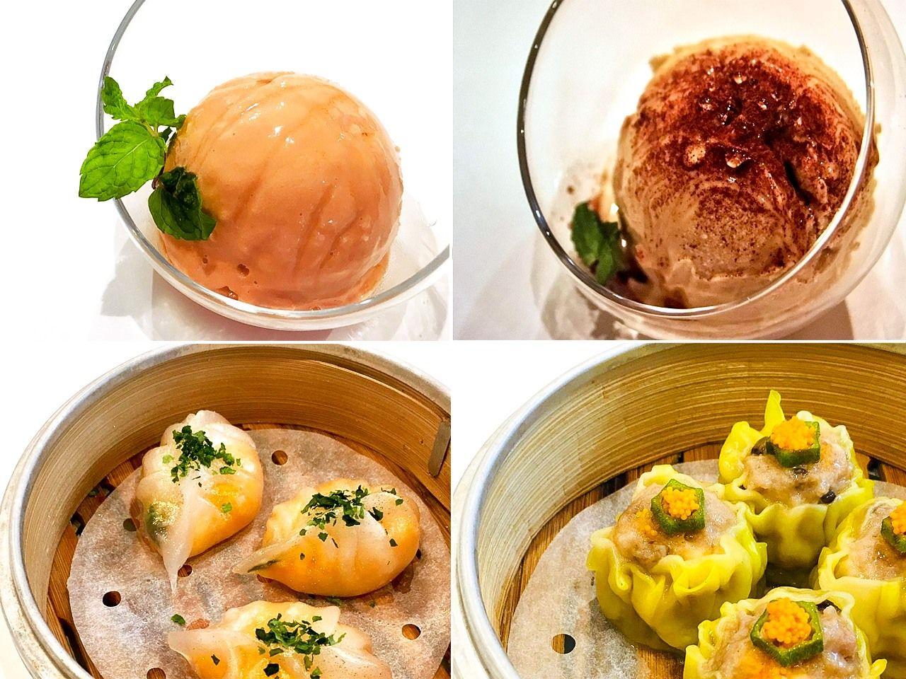 「火炎」の各種シューマイとアイスは全て鄧日成さんが手作りしたもの。日本人により身近に香港の飲食文化を伝えられたらと願っている(筆者撮影)