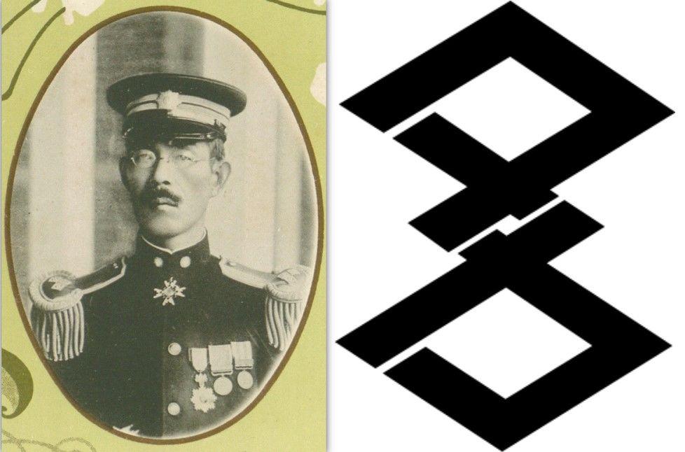日本統治時代の台湾総督府総務長官下村宏氏(左)と過去の高雄市ロゴ(1924-1945)、イメージは片仮名の「タカ」