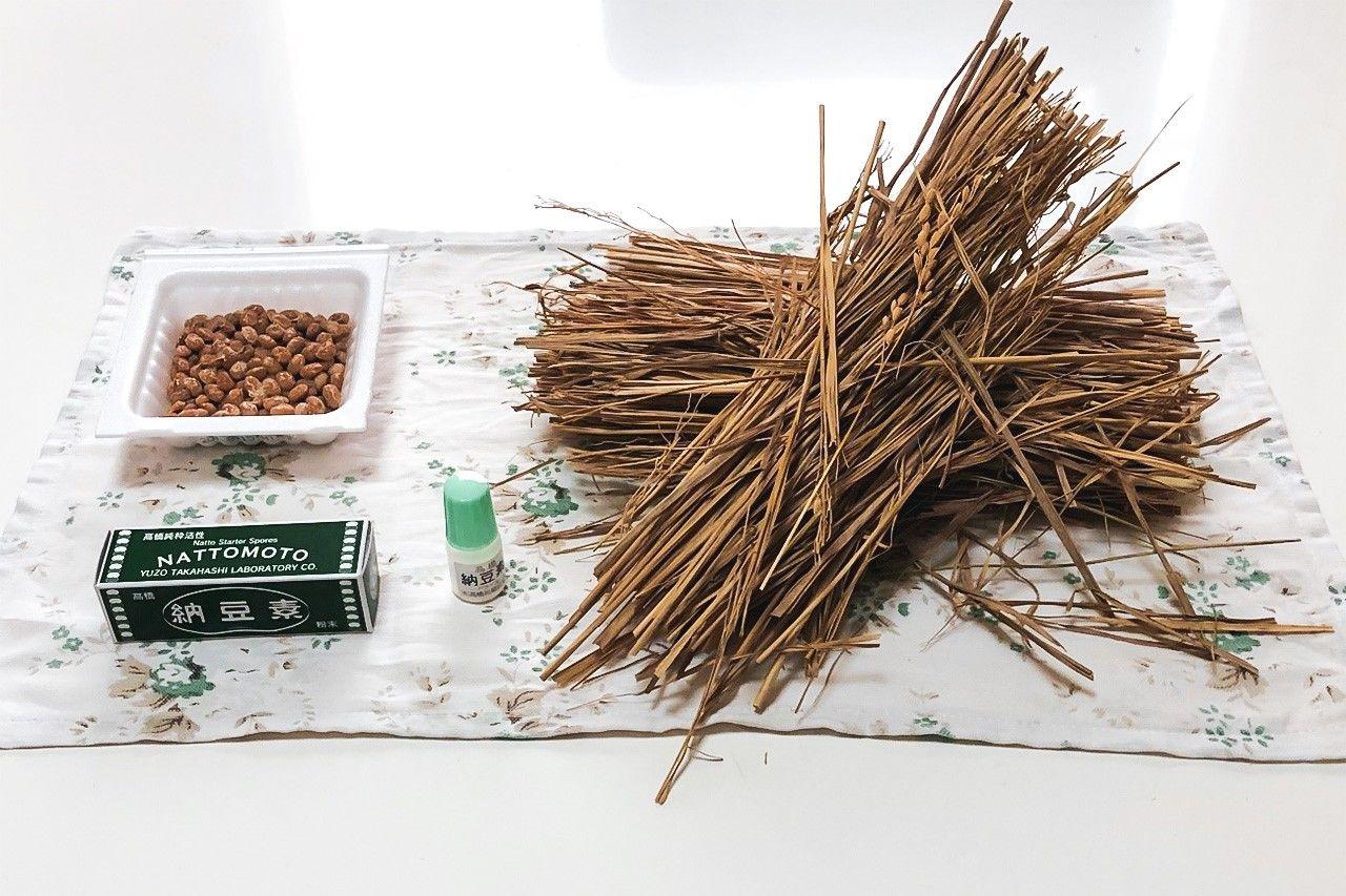Автор статьи приготовил натто, используя для закваски покупное натто, порошкообразную закваску и рисовую солому