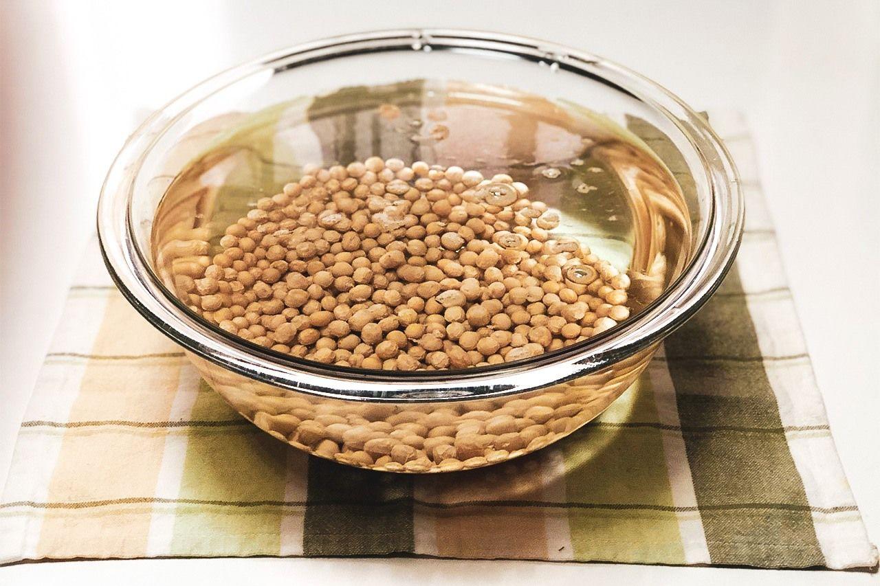 Соевым бобам для замачивания нужно много воды, стоит взять воды примерно в три раза больше, чем бобов