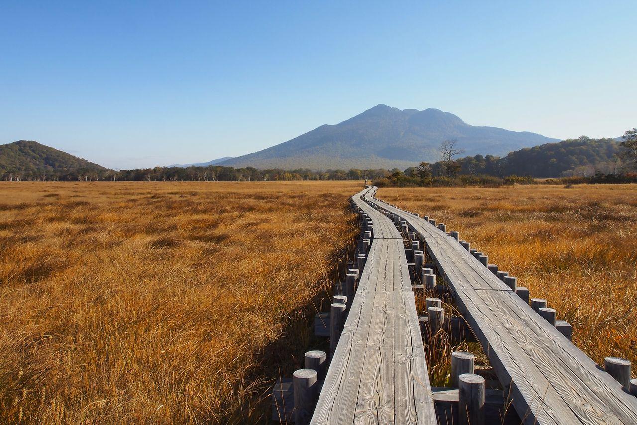 Осенние травы Одзэ и гора Сибуцусан (фотография Гугуттогумма)