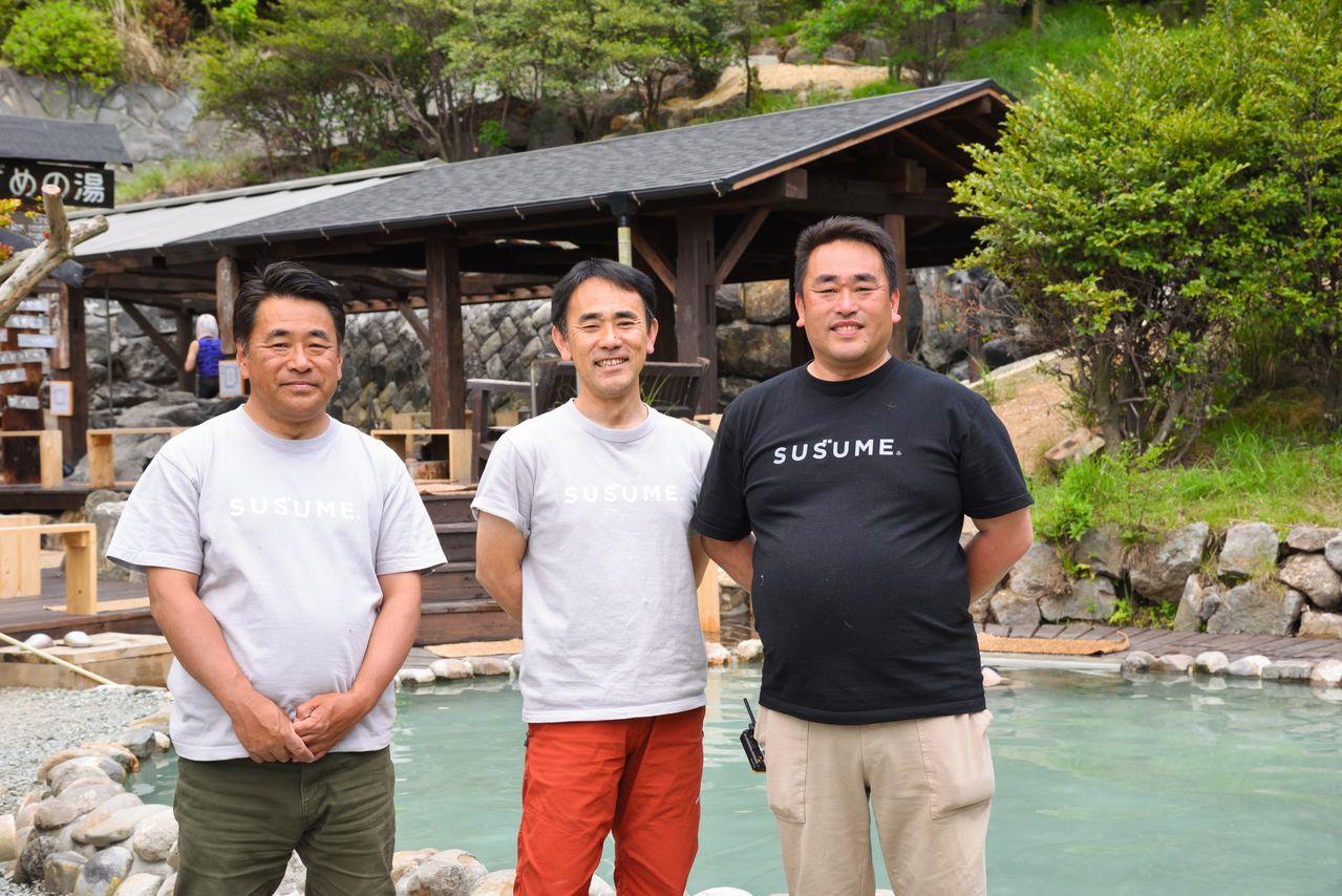Слева направо: Кавадзу Макото, старший сын управляющей семьи и президент Сэйфусо; Кэндзи, средний сын и вице-президент, и Сусумэ, младший сын и управляющий директор