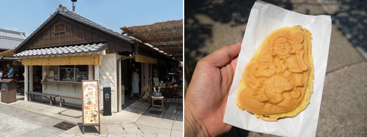 Ёкотё-яки (160 йен) готовятся из жидкого теста со вкусом мёда