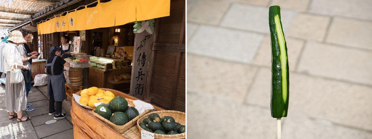 Огурец на палочке (150 йен) – одно из лакомств Окагэ-ёкотё