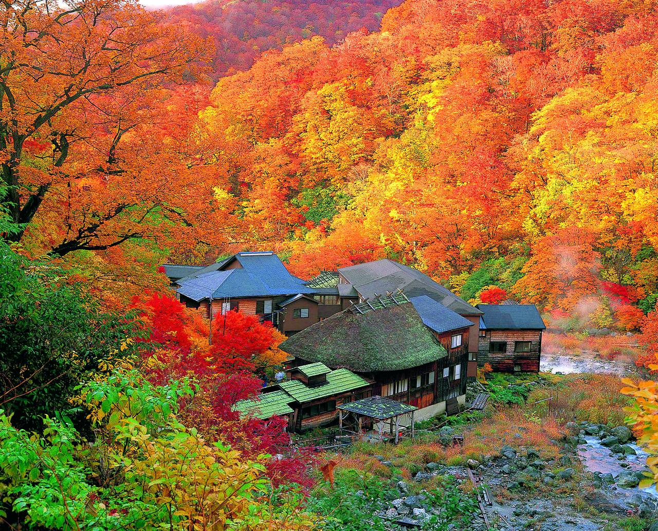 Курою-онсэн осенью