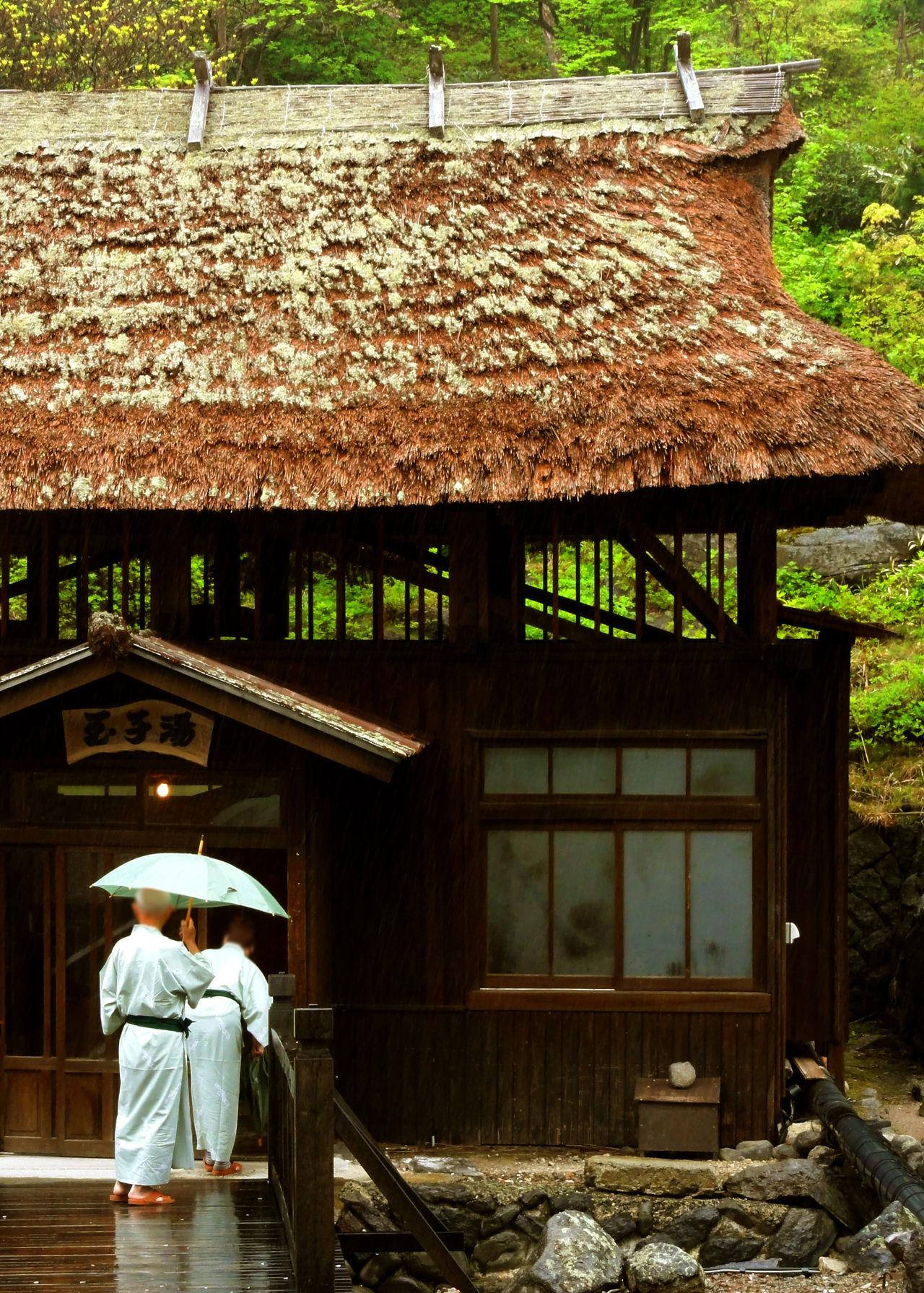 Хижина с соломенной крышей, в которой находится ванна Тамагою