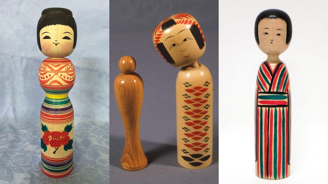 Слева направо: кокэси в стиле Цугару, Намбу и Кидзияма (фотографии предоставлены Музеем кукол Цугару кокэси, Туристической ассоциацией Ханамаки и отделом торгово-промышленной палаты города Юдзава)