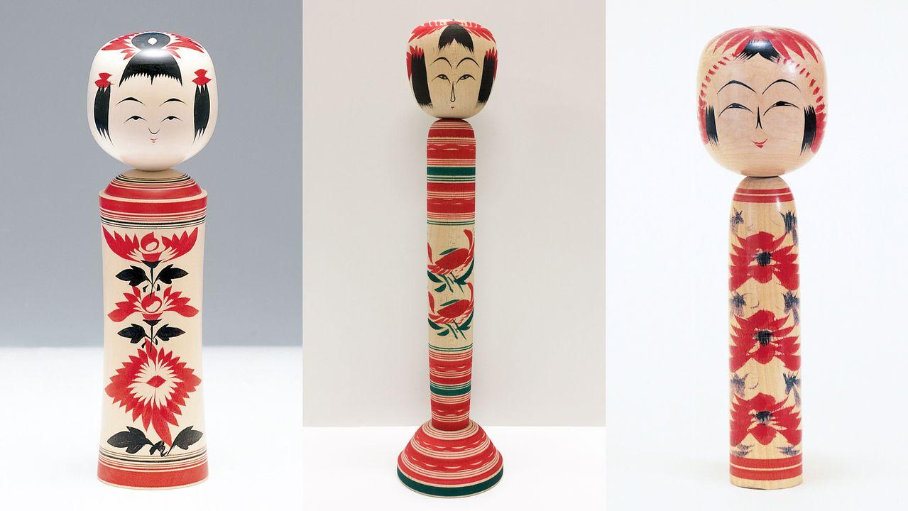 Слева направо: кокэси в стилях Наруко, Сакунами и Тогатта (правая и левая фотографии предоставлены Департаментом туризма префектуры Мияги; центральная предоставлена Ассоциацией туризма, конференций и международных связей г. Сэндай)