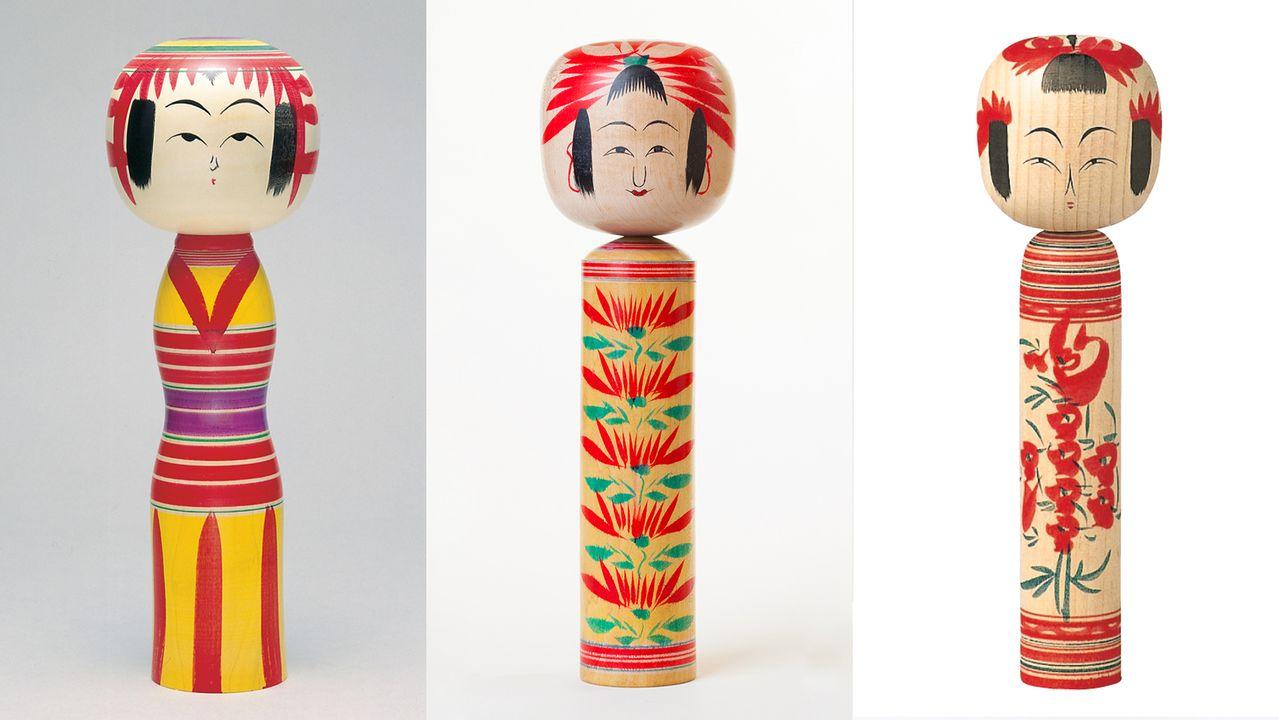 Слева направо – кокэси в стилях Ядзиро, Хидзиори и Ямагата (фотографии предоставлены Туристической организацией Сироиси, «Хотэйя» и департаментом торговли и туризма города Ямагата)