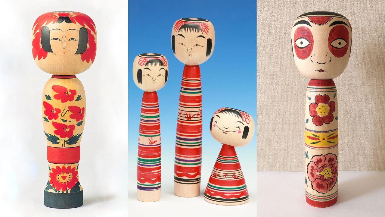 Слева направо: кокэси в стиле Дзао, Цутию и Наканосава (предоставлены департаментом торговли и туризма города Ямагата, Туристической ассоциацией Цутию-онсэн и Shoepress)