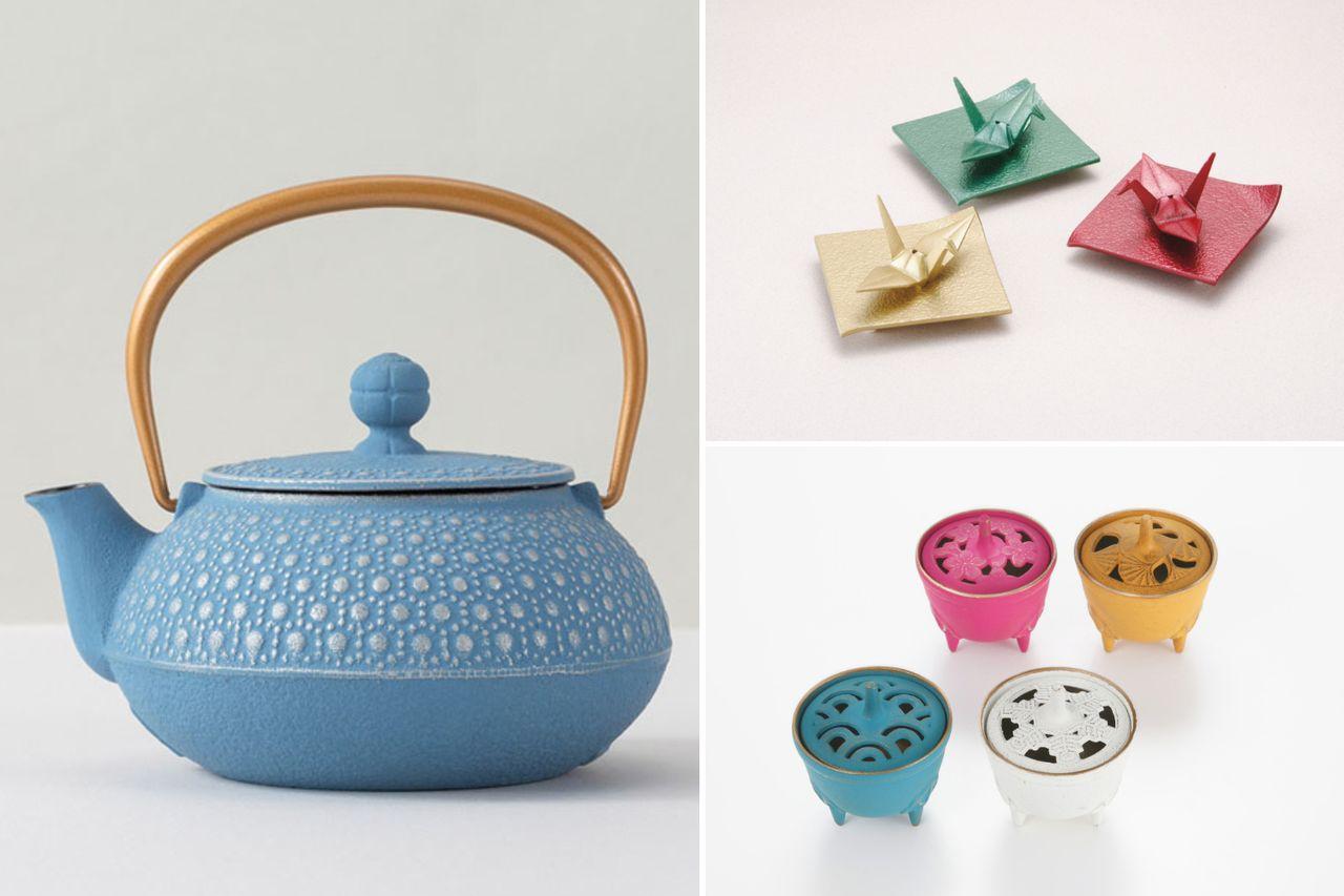 Яркие разноцветные чайники намбу тэкки популярны на западных рынках. В ассортименте имеются разноцветные курильницы и другие аксессуары (© Iwachū)