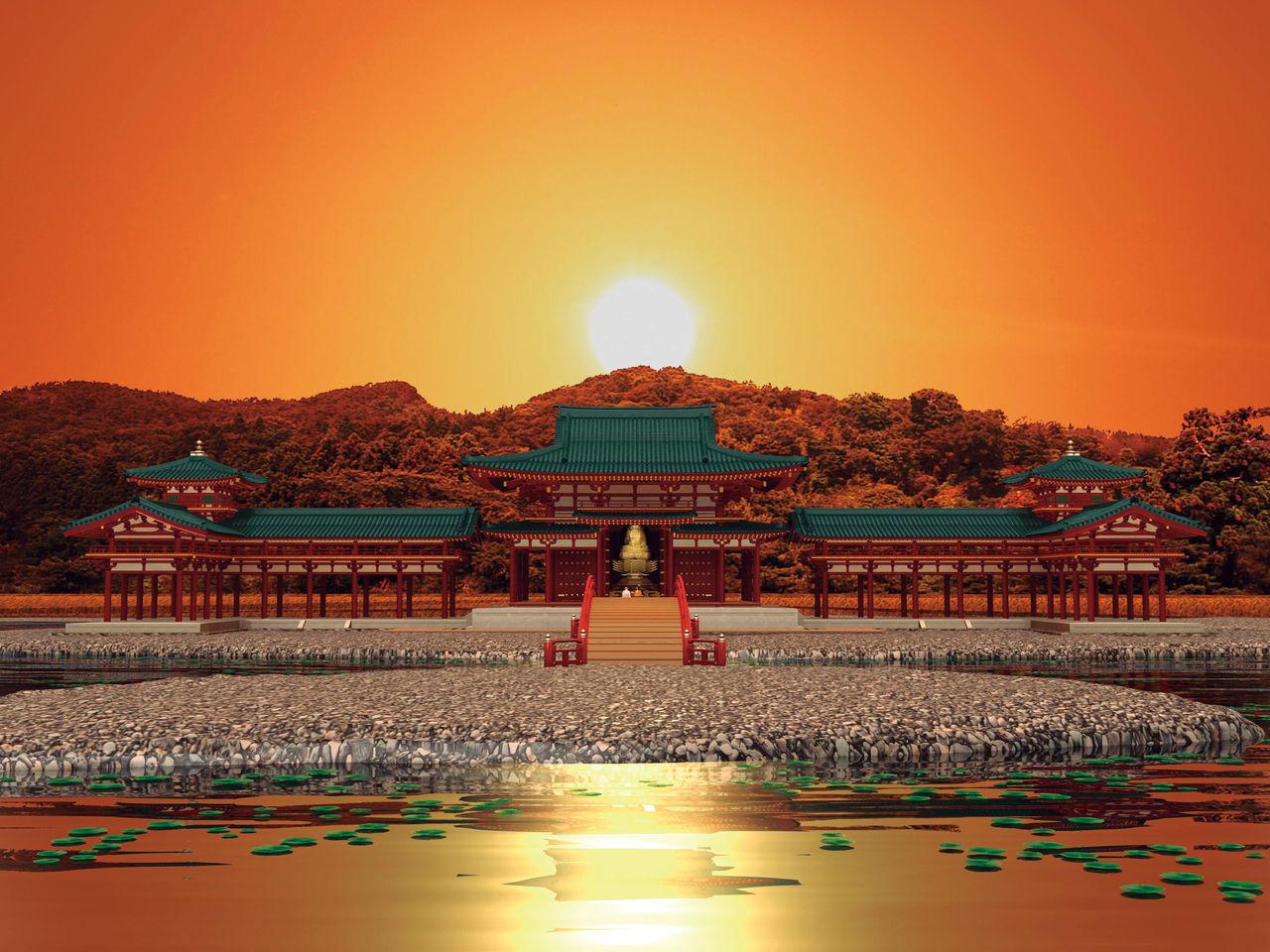 Ежегодно во время весеннего и осеннего равноденствия солнце садилось на одной линии с центром главного зала Мурёкоин и вершиной горы Кинкэй(компьютерная графика © Департамент образования города Хираидзуми)