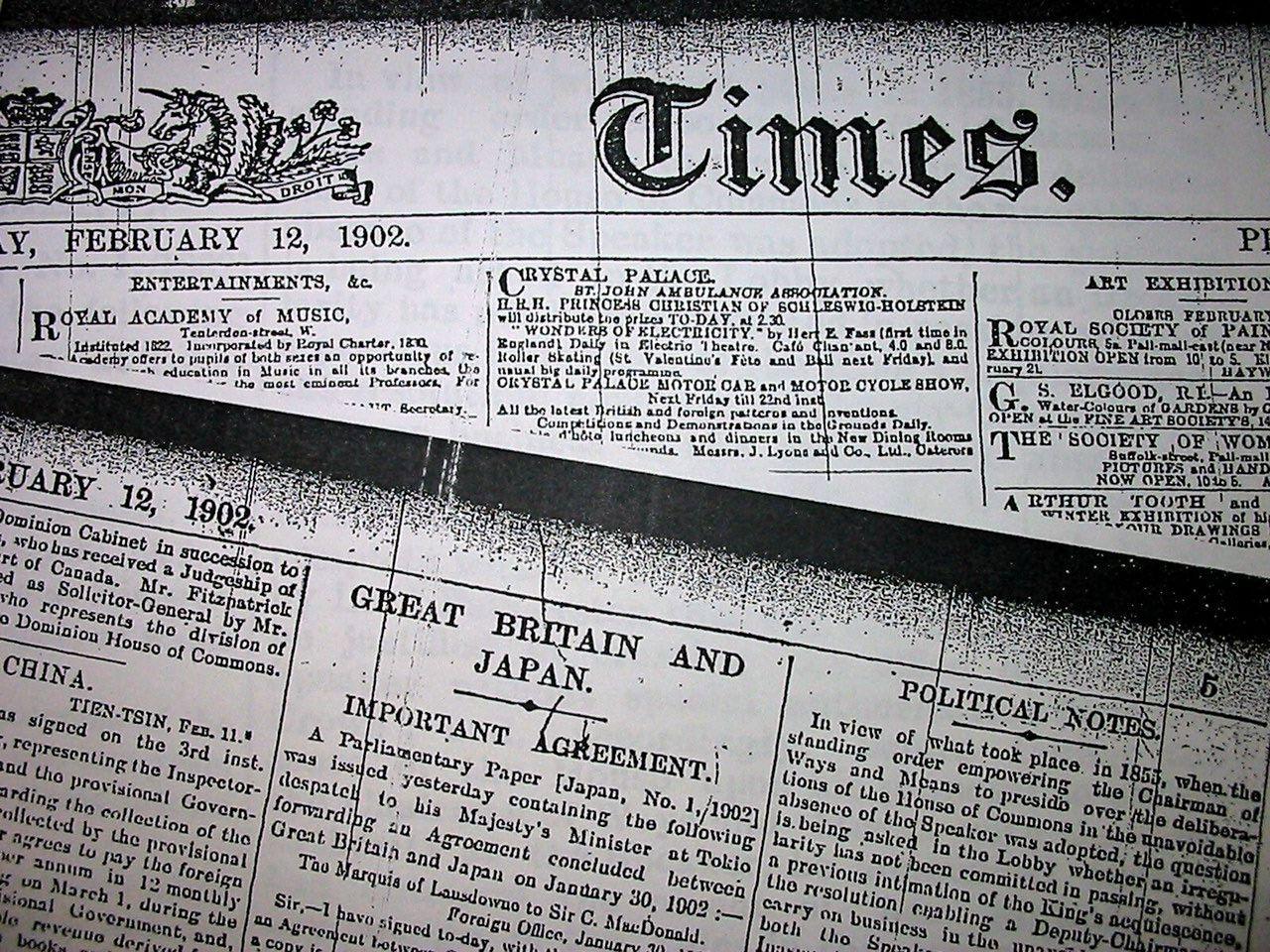 Экземпляр британской газеты «Таймс» от 12 февраля 1902 года с сообщением о заключении альянса Японии и Великобритании из собрания газетного филиала Британской библиотеки (© Jiji Press)