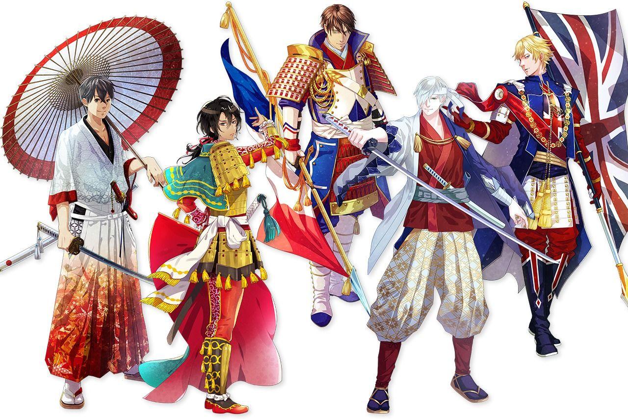 Слева направо: «Одушевленные» флаги Японии, Испании, Франции, России и Великобритании (© WorldFlags)