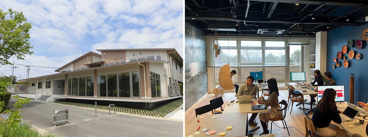 Внешний вид (слева) и офисные помещения (справа) офисного учреждения Mitsubishi Estate в Нанки-Сирахама (фотографии предоставлены Mitsubishi Estate)