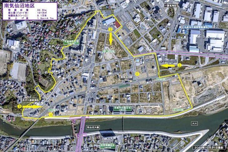 Аэрофотосъёмка района Минамикэсэннума, 31 октября 2020 г. (с вебсайта г. Кэсэннума)
